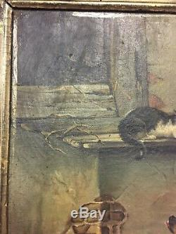 Tableau ancien huile sur toile animaux chiens chats XIXème