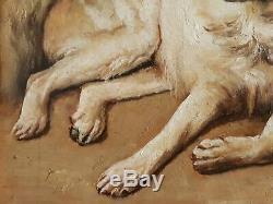 Tableau ancien huile sur toile animaux chiens singe perroquet J. CLECK XIXème