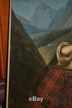 Tableau ancien, huile sur toile, école suisse, suiveur léopold Robert XIXème