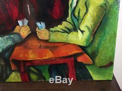 Tableau ancien huile sur toile daprès Cézanne (XXe-s) joueurs de cartes