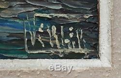 Tableau ancien huile sur toile marine port pêche Bretagne milieu XXème (signé)