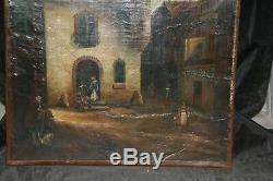 Tableau ancien huile sur toile marouflée scène de village