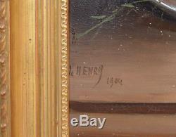 Tableau ancien, huile sur toile par L. Henry début XXème. Nature Morte