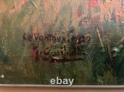 Tableau ancien huile sur toile paysage de PROVENCE LE VENTOUX Joseph GARIBALDI