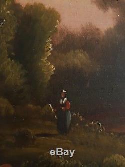 Tableau ancien huile sur toile paysage lacustre animé vaches XIXème 19ème