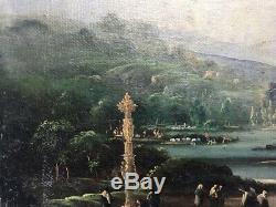 Tableau ancien, huile sur toile, paysage lacustre avec personnages, XIXe
