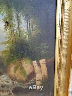 Tableau ancien huile sur toile, pécheur en rivière XIX ème s signée à déchiffrer