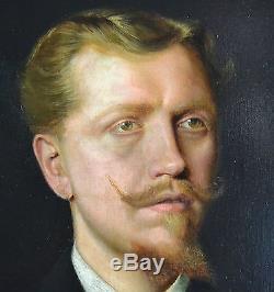 Tableau ancien, huile sur toile portrait d'homme signé