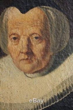 Tableau ancien huile sur toile portrait de vieille femme