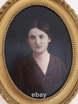Tableau ancien huile sur toile portrait femme signé Danguien Paris