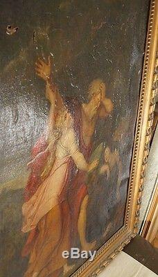 Tableau ancien, huile sur toile, scène biblique