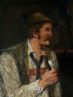 Tableau ancien huile sur toile scène de genre Ignatz Felix GUGGENBERGER XIXème