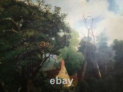 Tableau ancien huile sur toile scène de vie