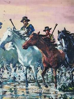Tableau ancien huile sur toile signé Lasalle chevaux gardians camargue années 50