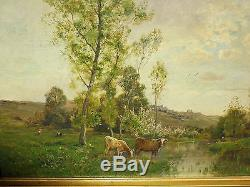 Tableau ancien huile sur toile vaches dans paysage signe
