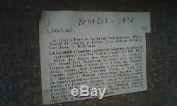 Tableau ancien huile sur toile vue village des Pyrénées René Gaston LAGORRE