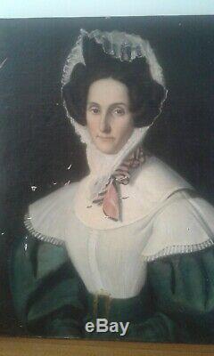 Tableau ancien huile/toile. Portrait dame élégante au bonnet de dentelle 19ème