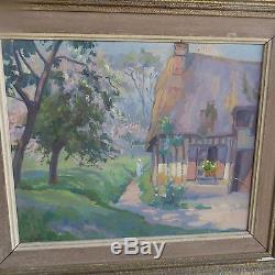 Tableau ancien, huile / toile, paysage de Normandie (Normand) signée / A. Dulac