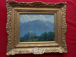 Tableau ancien huile/toile paysage lac de montagnedébut XX