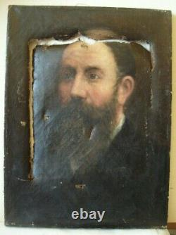 Tableau ancien huile toile portrait homme barbu barbe 19e à restaurer