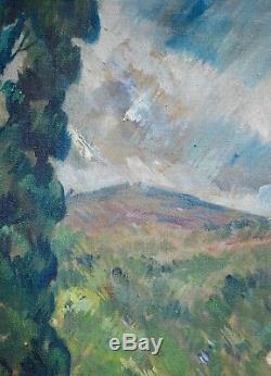 Tableau ancien, huile vers 1930. Paysage cubiste