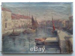 Tableau ancien impressionniste EGLENE SURIEUX Marine Bateaux Les Martigues Huile
