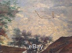 Tableau ancien impressionniste Le battage des foins Huile toile signée Bonnand