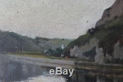 Tableau ancien impressionniste Paysage fluvial Anonyme Superbe