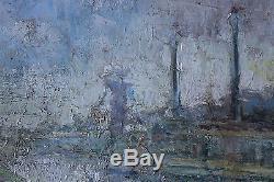 Tableau ancien impressionniste Paysage industriel Anonyme Superbe