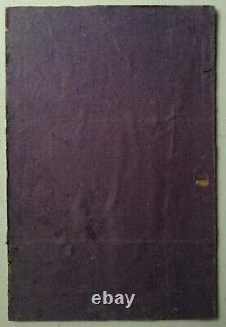 Tableau ancien impressionniste Pécheurs Quai de Seine Paris Huile signée c1942