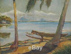 Tableau ancien impressionniste Va'a hoe POLYNESIE TAHITI huile oil format 15F
