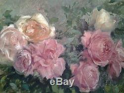Tableau ancien impressionniste Victor Marec fleurs