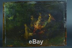 Tableau ancien impressionniste baigneuses Femme Nue Nymphe au bain signé19 ème