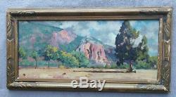 Tableau ancien impressionniste paysage Luberon provence french landscape