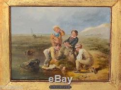 Tableau ancien jeunes enfants en bord de mer/école anglaise 19e William Collins