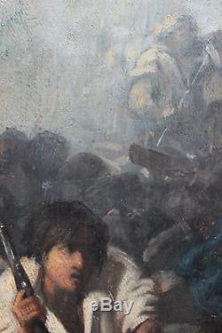 Tableau ancien la Commune de Paris Scène de guerre Anonyme Ecole française
