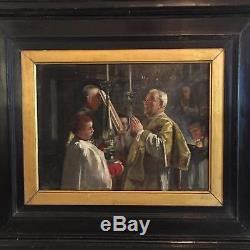 Tableau ancien la communion à l'église, tableau ancien