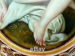 Tableau ancien maldini peinture cadre doré fille nu peinture à l'huile bombé