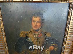 Tableau ancien, maréchal d'empire, Napoléon, peinture ancienne, tableau
