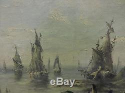 Tableau ancien marine 19 ème huile sur toile / old painting marine XIX
