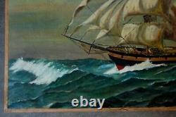 Tableau ancien, marine Voilier en mer