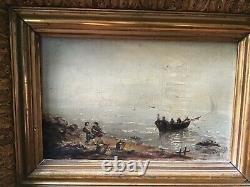 Tableau ancien marine pêcheur