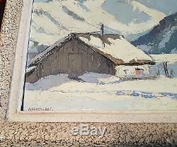 Tableau ancien montagne maison chalet alpage huile panneau signée savoie