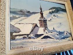 Tableau ancien montagne village église megeve huile panneau signée haute savoie