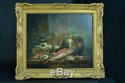 Tableau ancien nature morte Cuisine Huitres Chaudron Poisson Pêche signé Brunel