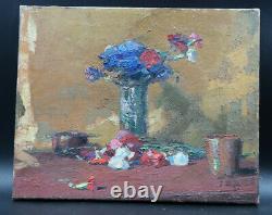Tableau ancien nature morte fleurs oeillets vase terre cuite signé