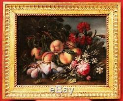 Tableau ancien nature morte fruits école italienne 1800 pêches prunes fleurs