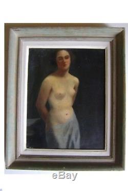 Tableau, ancien, nu, femme, odalisque, portrait