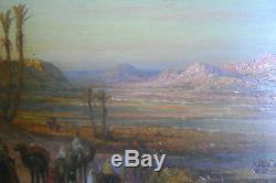 Tableau, ancien, orientaliste, Maroc, Oasis, Djebel, Atlas, Anti atlas, Berbères