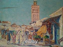 Tableau, ancien, orientaliste, Maroc, Oujda, Brunetaut, Oujda, 1917